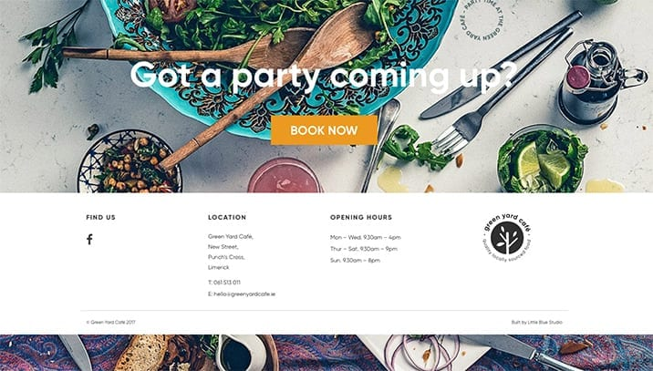 Book a party at Green Yard Cafe