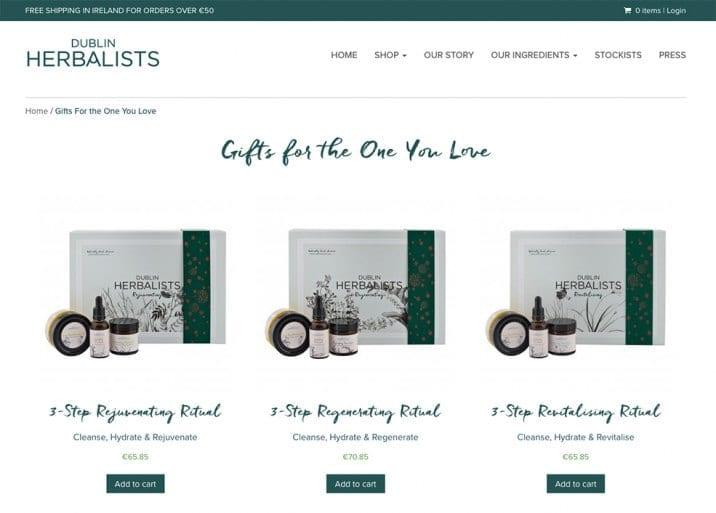 Online eCommerce Shop by Little Blue Studio for Dublin Herbalists