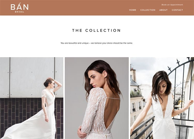 New Website Design for Ban Bridals Collection