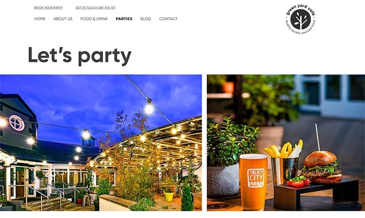Green Yard Cafe's New Website Design