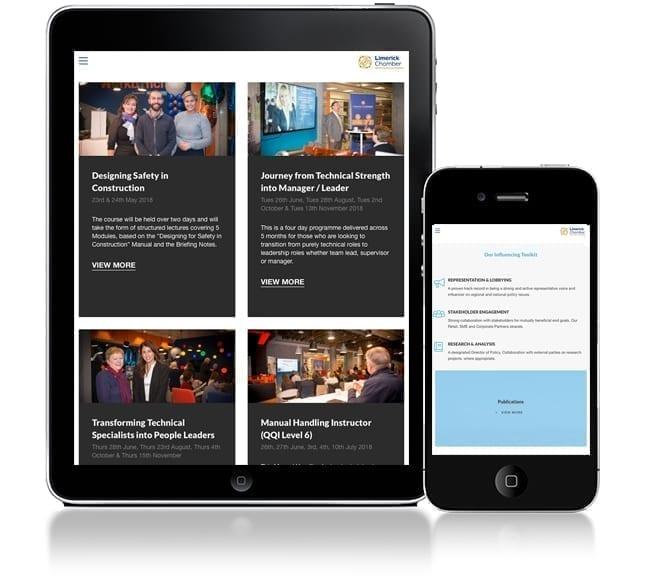Limerick Chamber's new website design