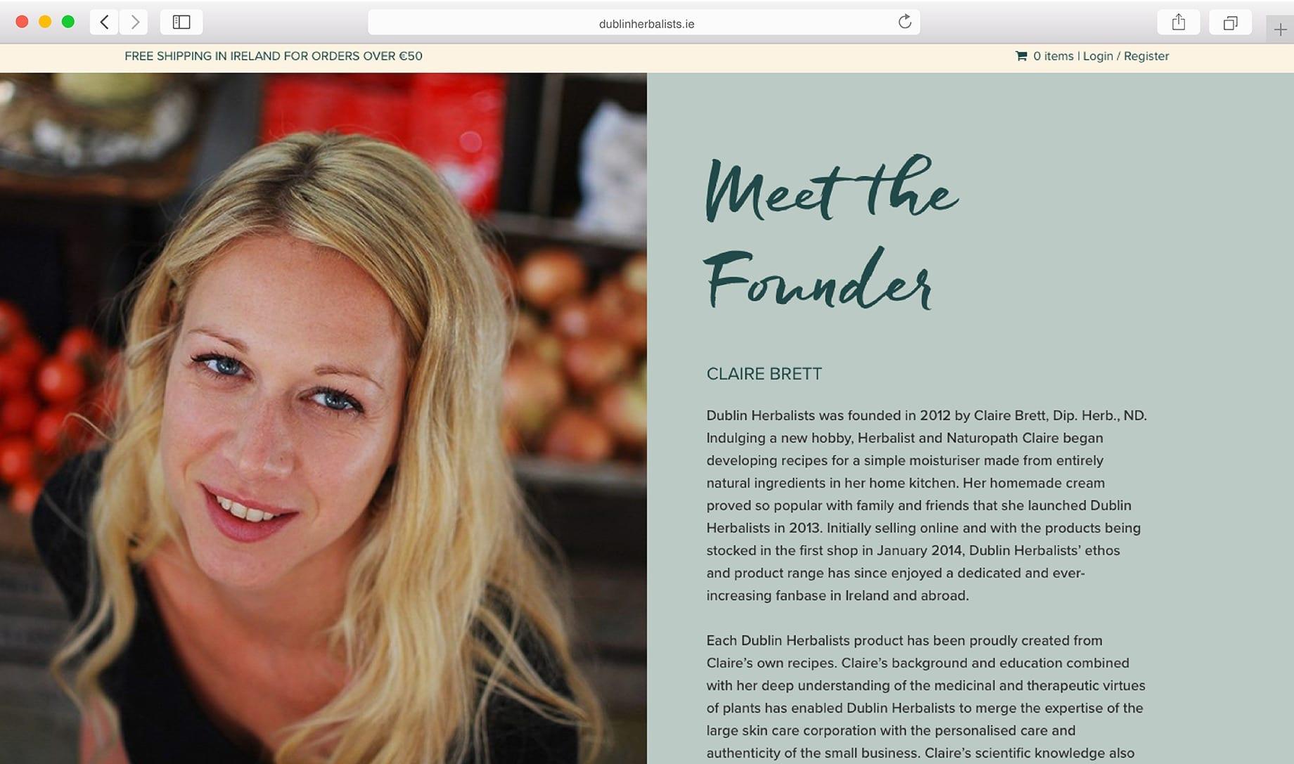 Dublin Herbalists Online Shop Sample